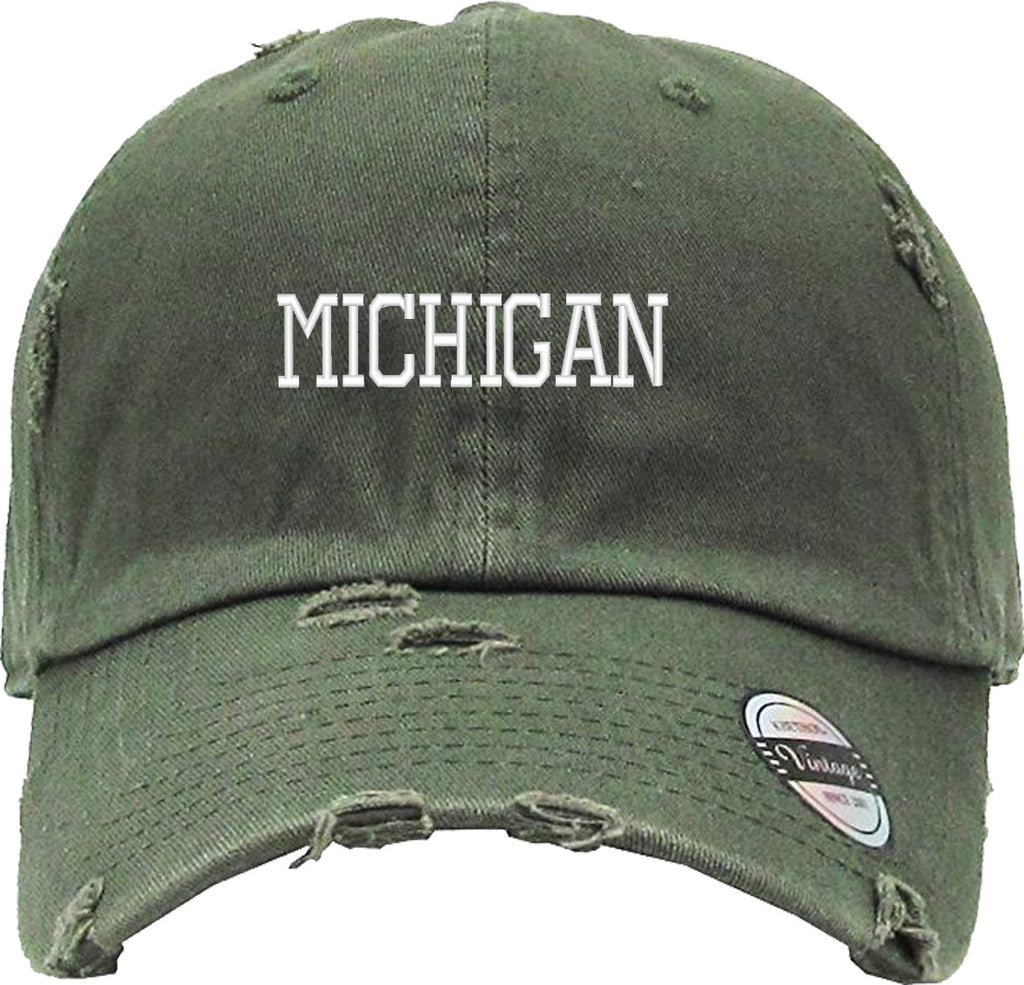 MICHIGAN Distressed Baseball Hat