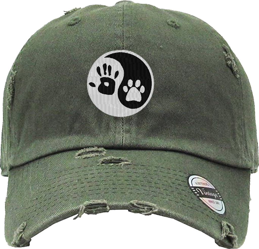 dog paw Distressed Baseball Hat