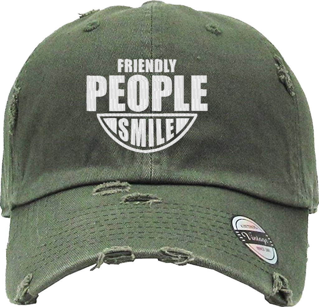 FRIENDLY PEOPLE SMILES Distressed Baseball Hat