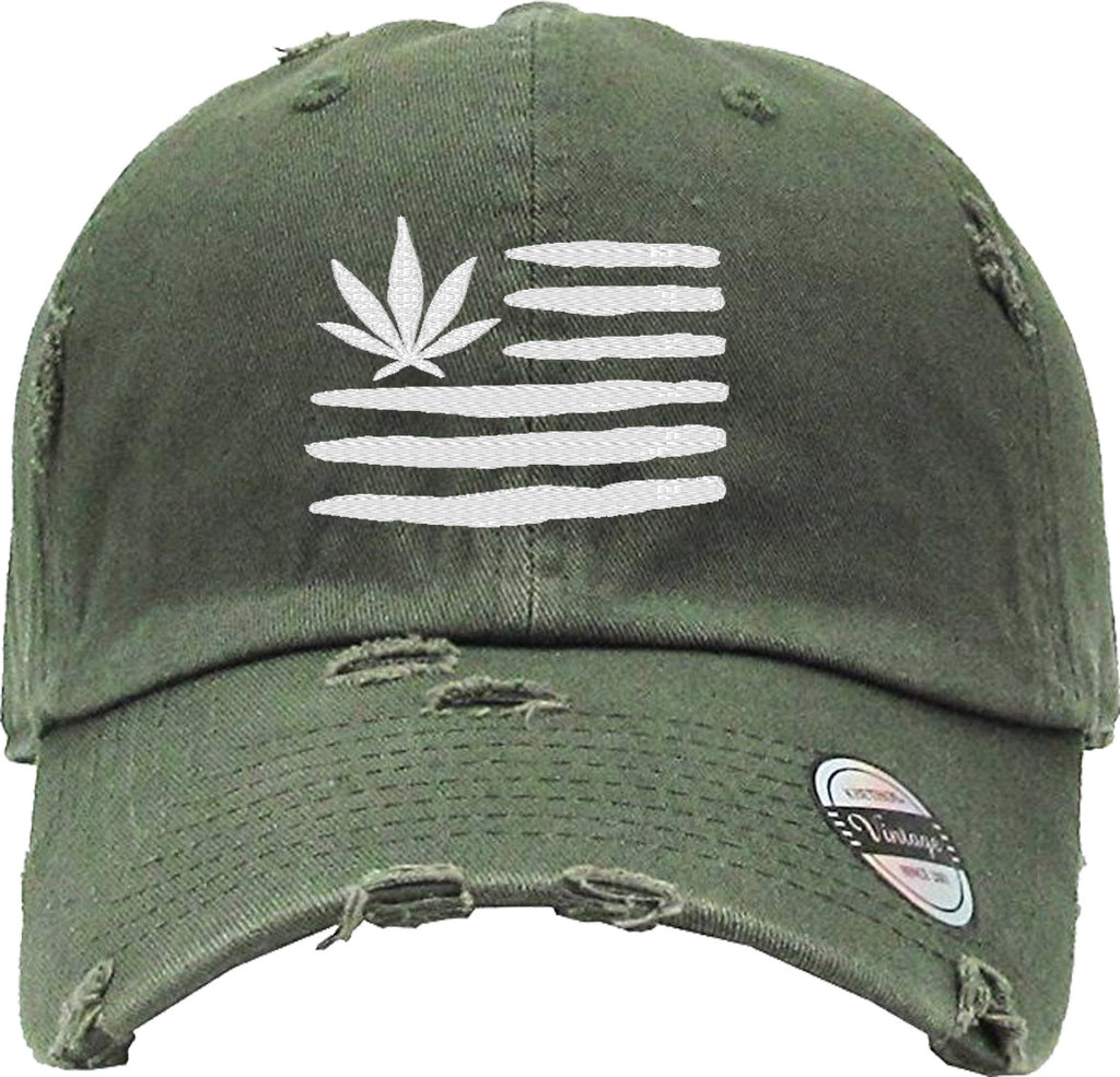 MARIJUANA FLAG Distressed Baseball Hat