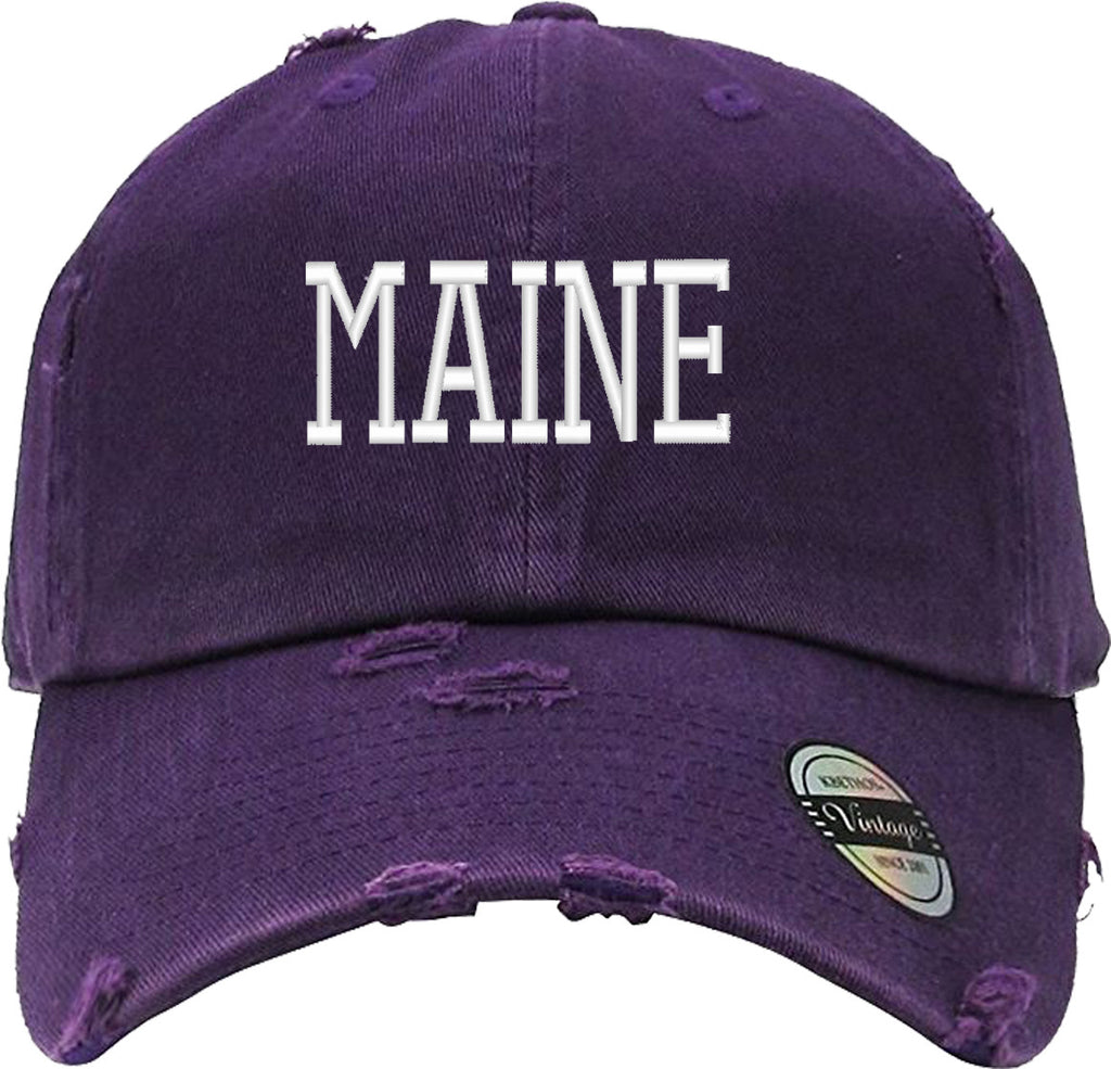 MAINE Distressed Baseball Hat