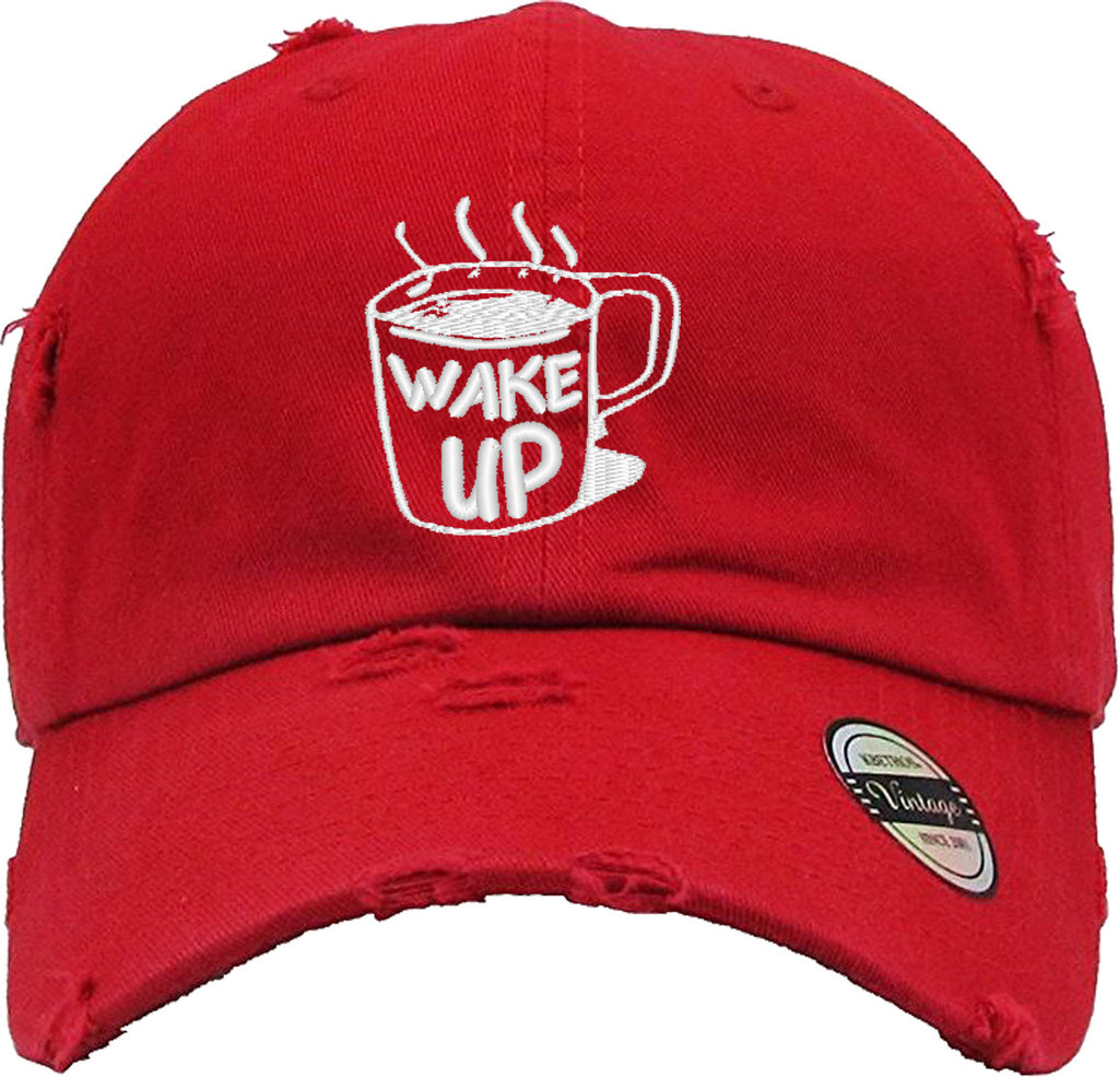 WAKE UP COFFEE Distressed Baseball Hat