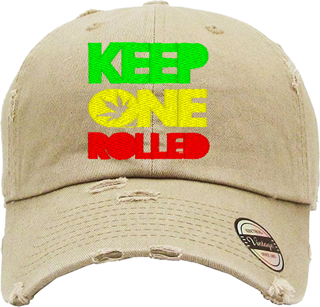 KEEP ONE ROLLED Distressed Baseball Hat