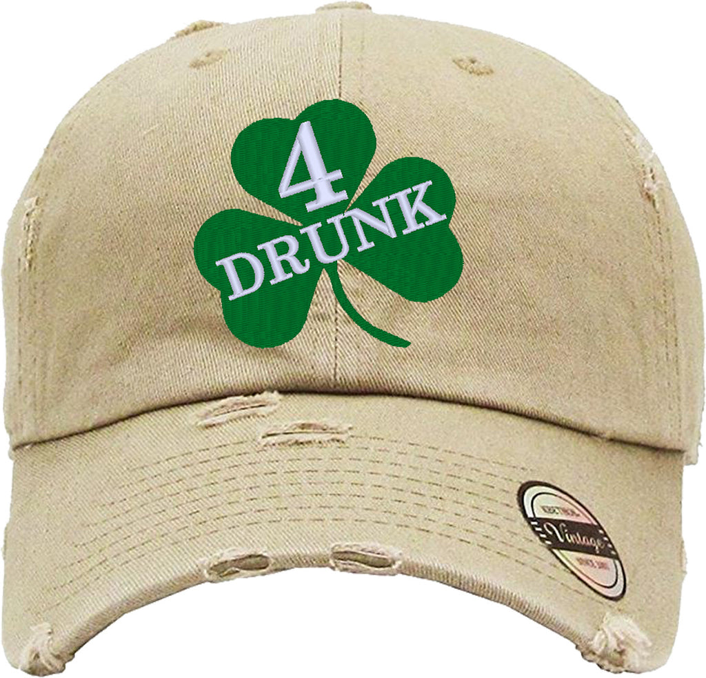 DRUNK 4 Distressed Baseball Hat