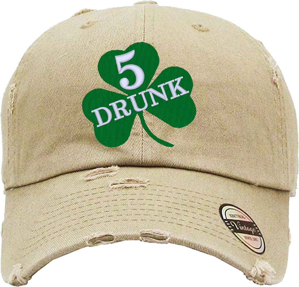 DRUNK 5 Distressed Baseball Hat