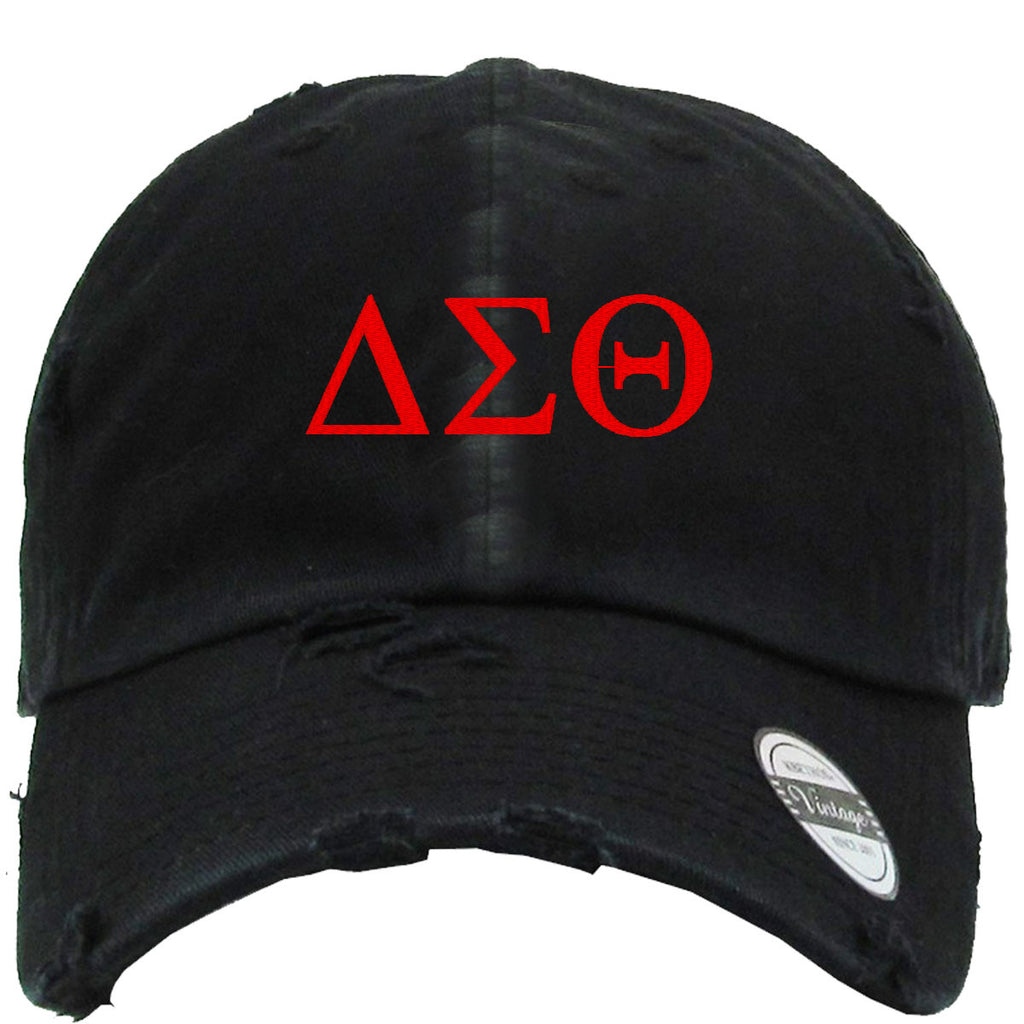 DELTA SIGMA Embroidered Distressed Baseball hat