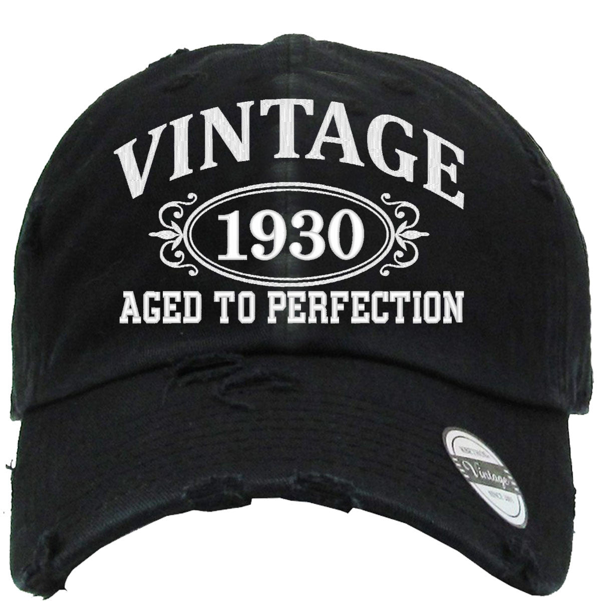 aged to perfection 1930 embroidered distressed baseball hat teeeshop