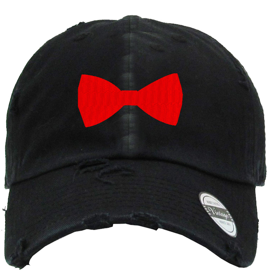 bow tie Embroidered Distressed Baseball hat