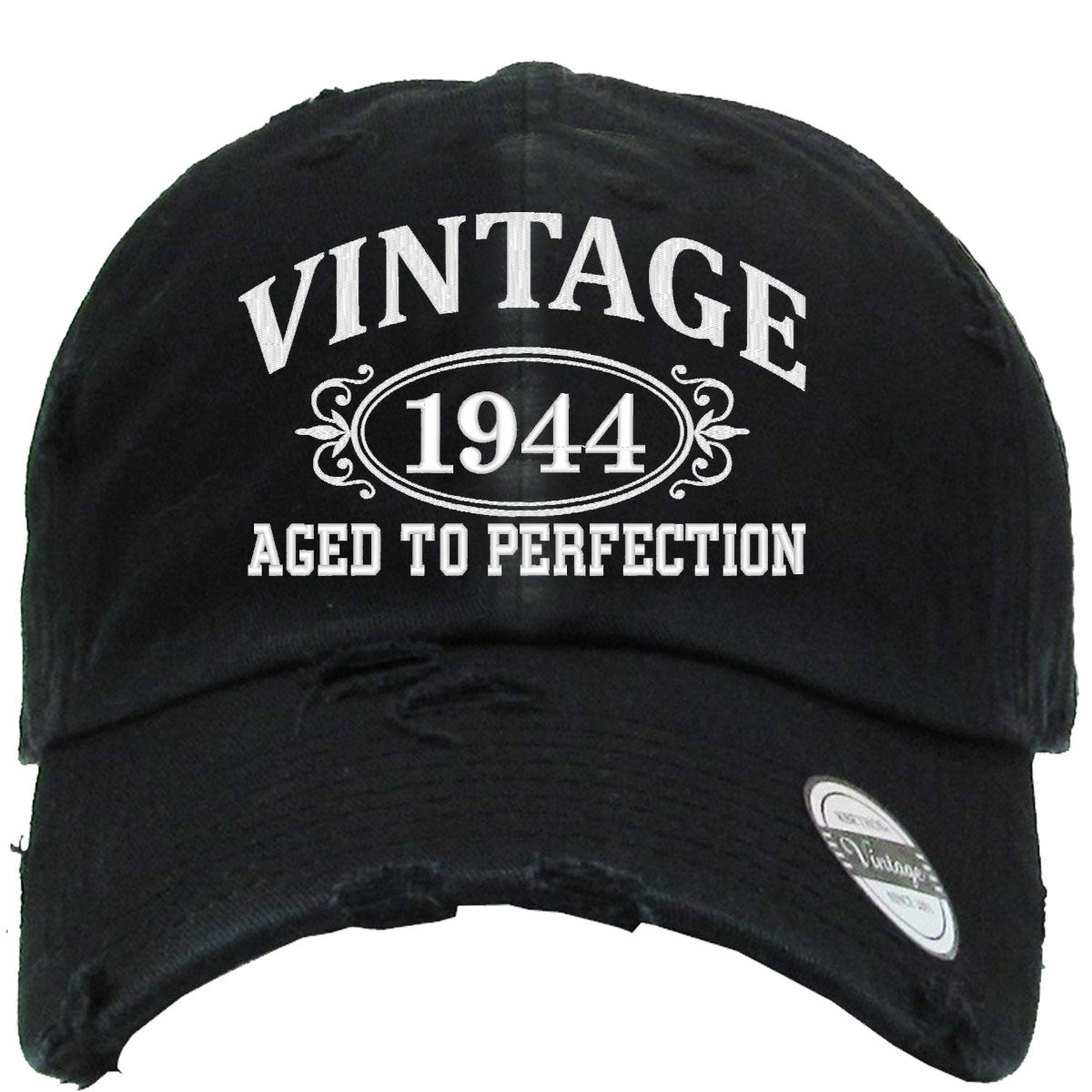 f043962e AGED TO PERFECTION 1944 Embroidered Distressed Baseball hat | TeeeShop