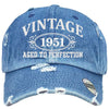 AGED TO PERFECTION 1951 Embroidered Distressed Baseball hat