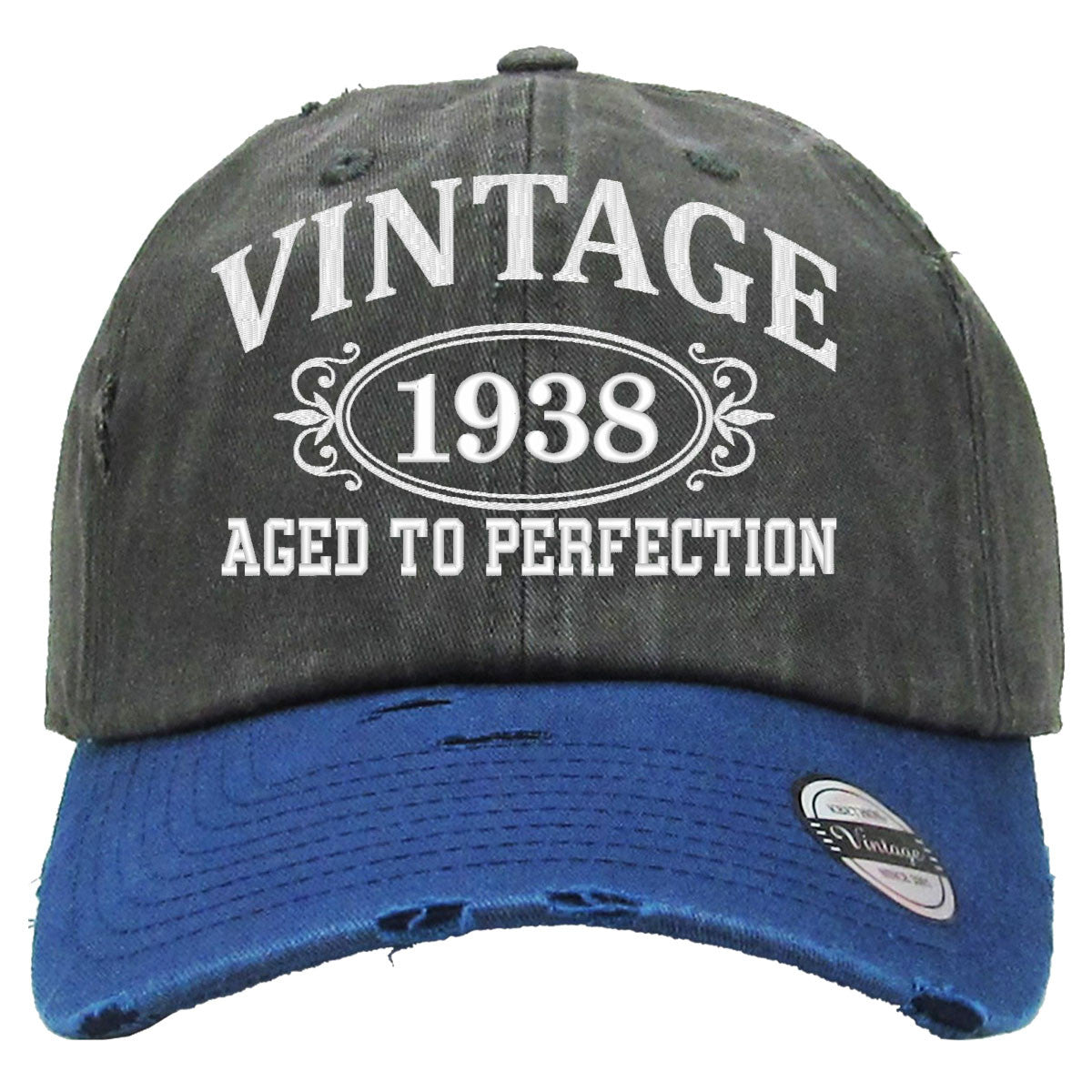 aged to perfection 1938 embroidered distressed baseball hat teeeshop