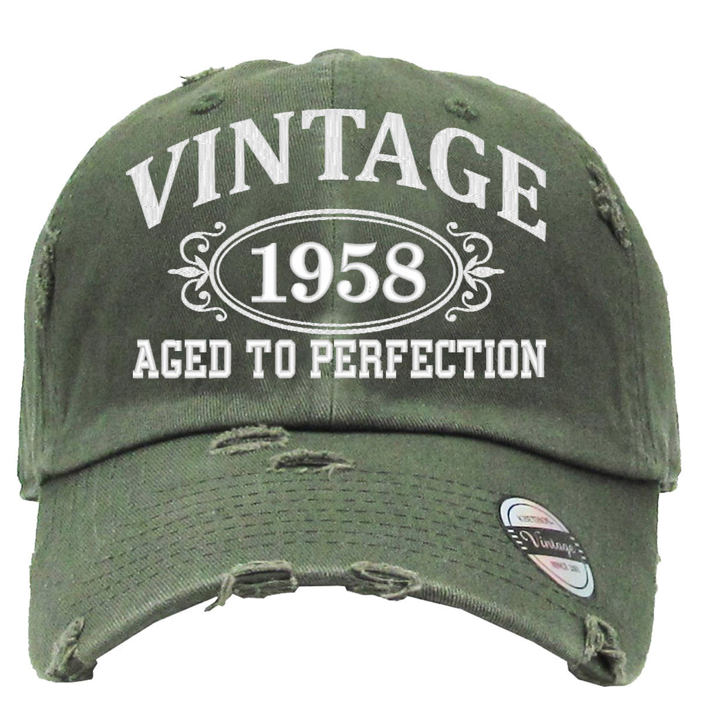 AGED TO PERFECTION 1958 Embroidered Distressed Baseball hat