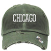 CHICAGO Embroidered Distressed Baseball hat