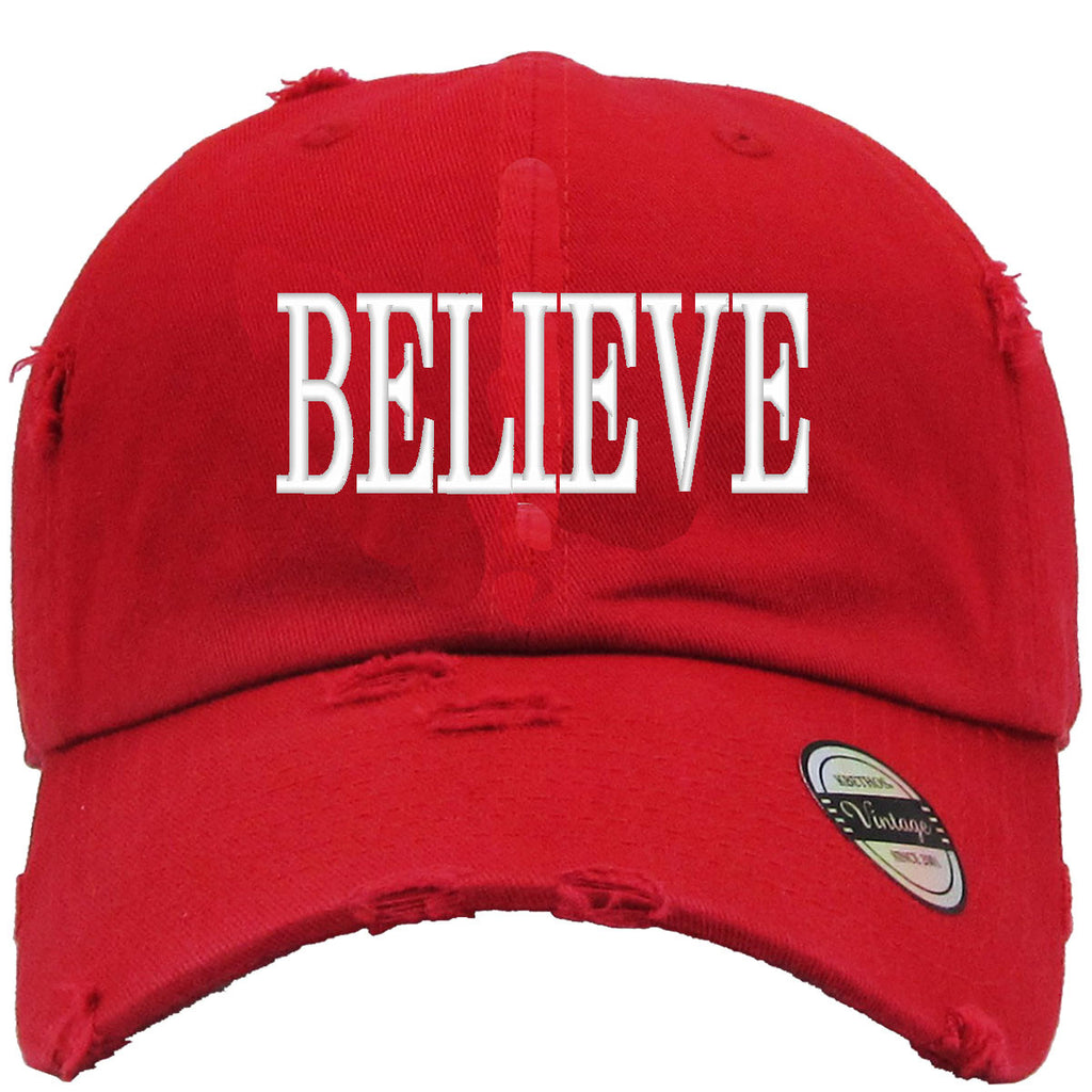 believe Embroidered Distressed Baseballs