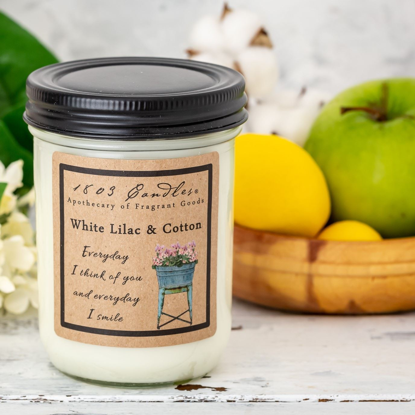 1803 White Lilac and Cotton Soy Candle 14 oz