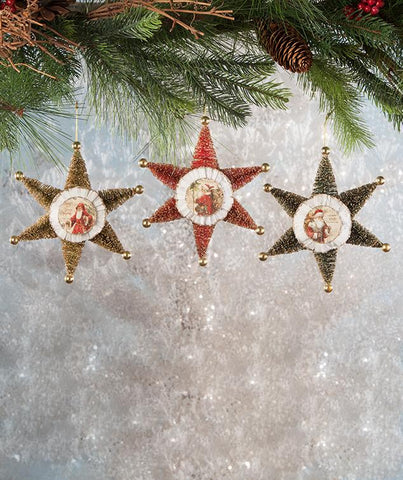 Bottle Brush Tree Christmas Star Ornament