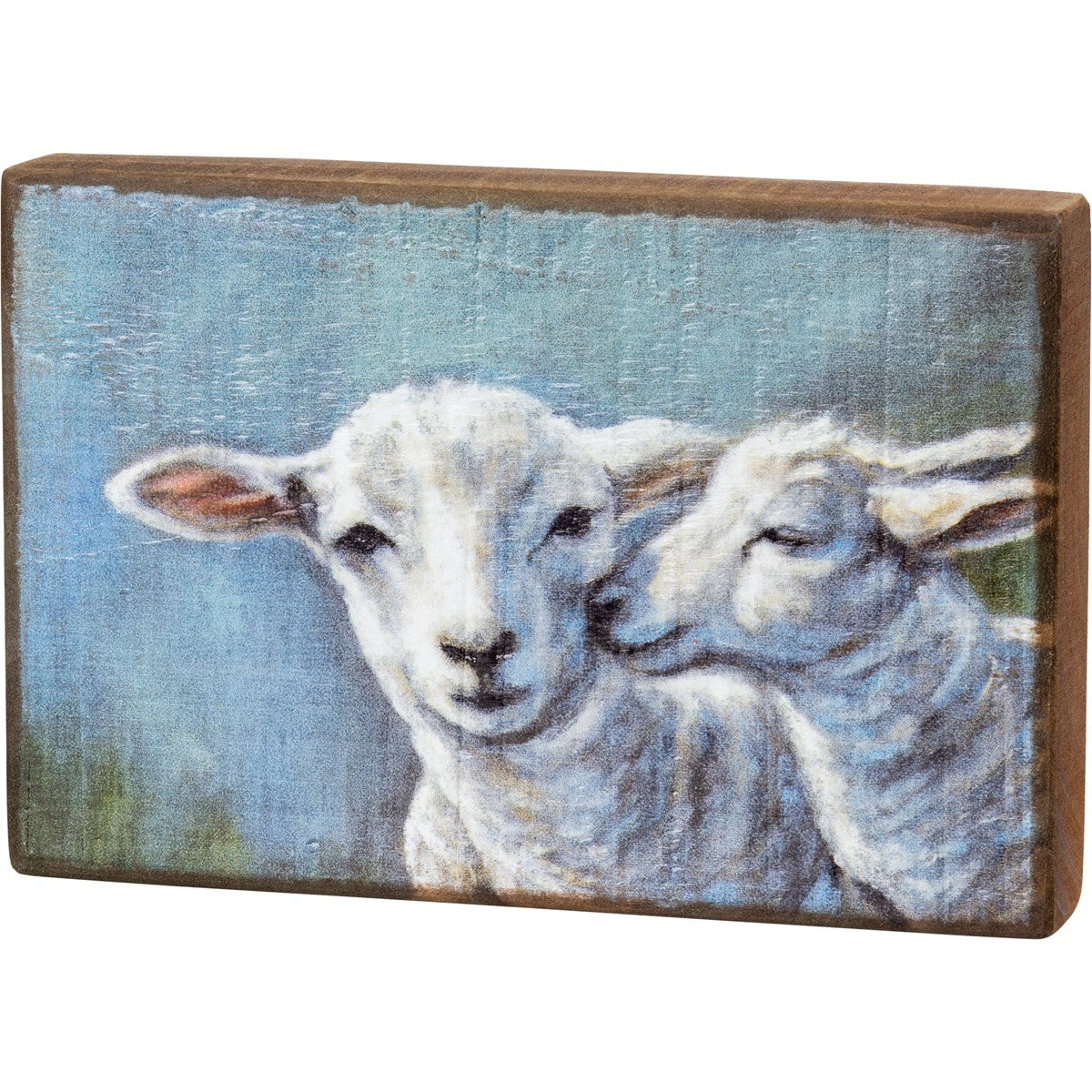 Sheep and Lamb Wood Block Picture