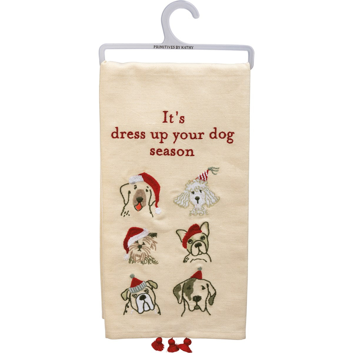 """Its Dress Up Your Dog Season"" dog themed tea towel"