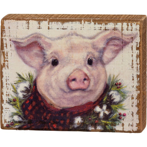 Christmas Pig Block Sign