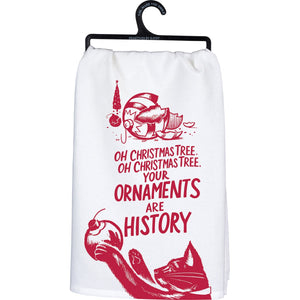 Oh Christmas Tree Cat Themed Christmas Tea Towel