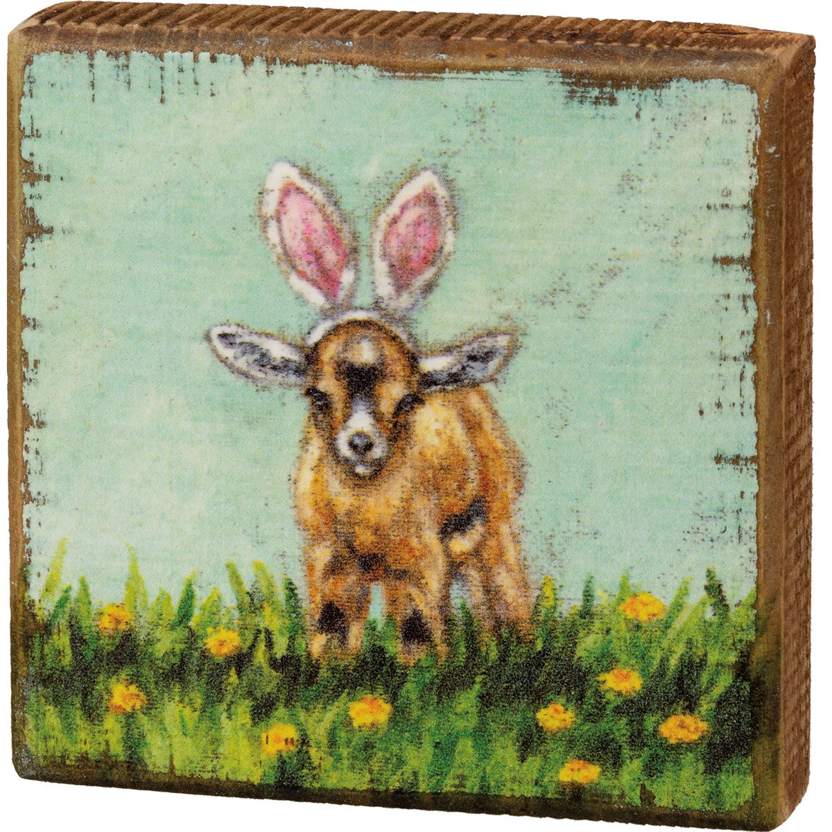 Goat with Bunny Ears Wood Block Picture