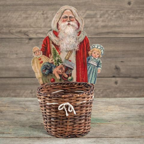 Board Santa with wicker Basket