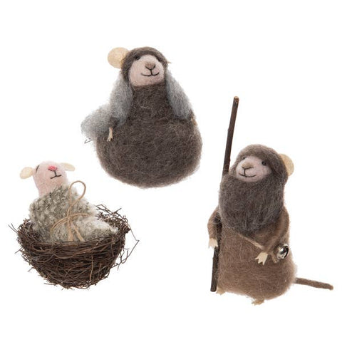 Mouse Nativity Ornament Set of 3