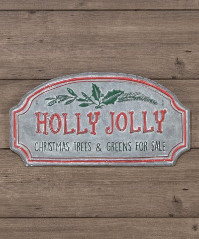 Holly Jolly Metal Sign