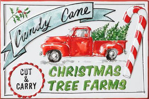 Candy Cane Tree Farm Metal Picture
