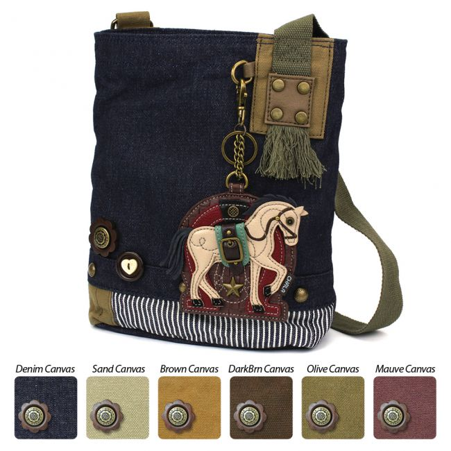 Horse Denim Patch Crossbody Bag