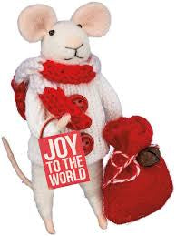 "Felt ""Joy to World"" mouse ornament"