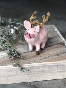 Felt Pig with Gold Antlers