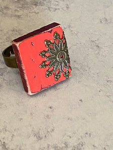 Red Scrabble Tile Ring