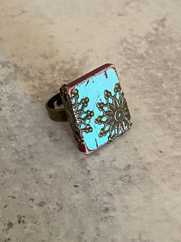 Turquoise Scrabble Tile Ring