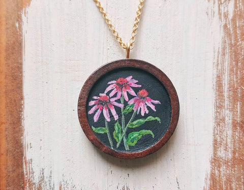 Coneflower Hand-painted Necklace