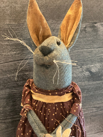 Primitive Handmade Bunny in Burgundy Home Spun Dress