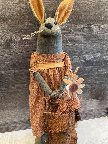 Primitive Handmade Bunny in  Red and Cream Home Spun Dress