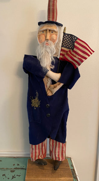 Hand Crafted Standing Uncle Sam with Flag