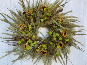 Fall Wreath with Dried Sunflowers and greenery
