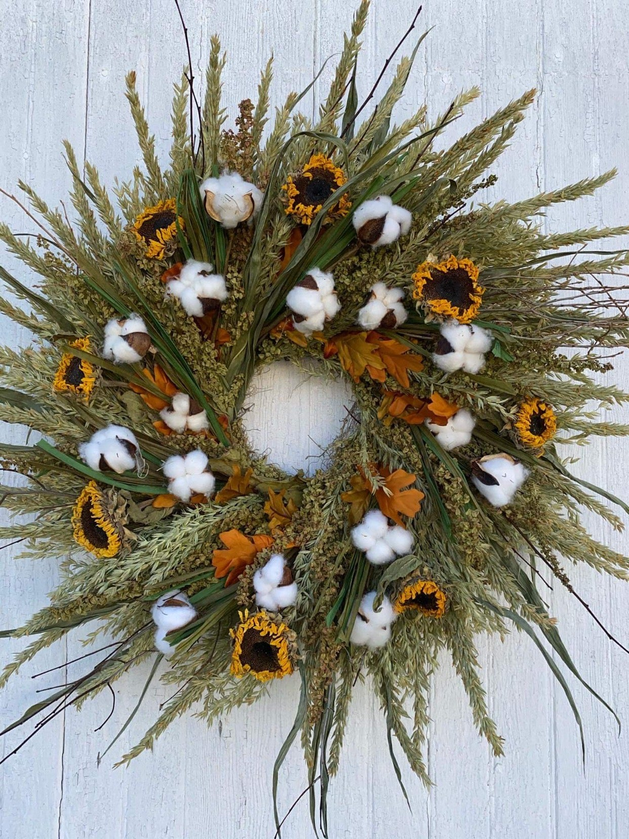 Fall Wreath with Dried Sunflowers and cotton