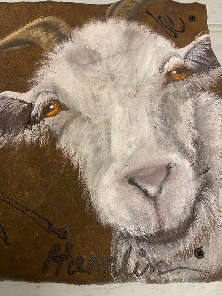 Original Painting of a Goat on Reclaimed Wood and Tin