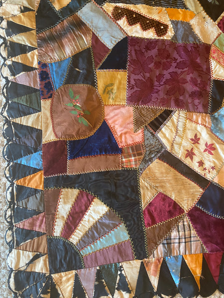 Antique American 1891 Crazy Quilt