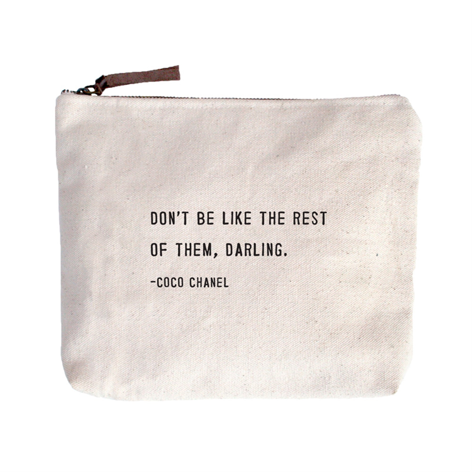 Coco Chanel Quote Canvas Zip Bags