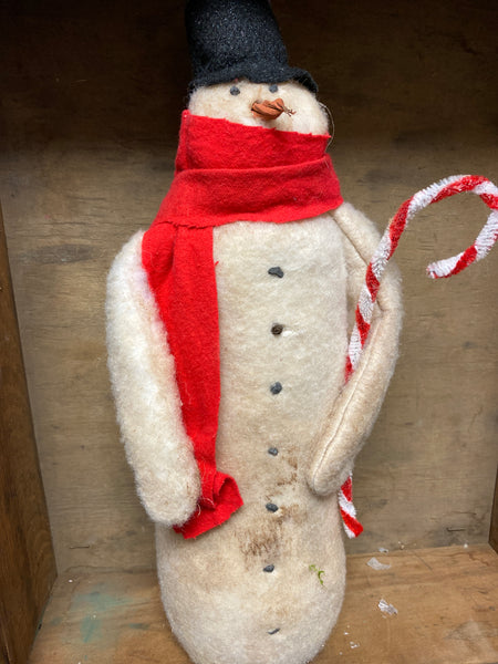 Handmade Primitive Snowman with Candy Cane