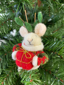Felt Mouse with Antlers and Present