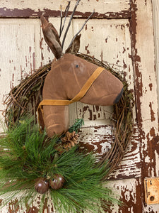 Handmade Primitive Reindeer Wreath