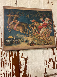 Primitive Christmas Picture Featuring Santa and Sleigh