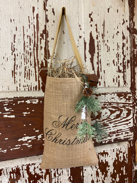 Merry Christmas Hanging Burlap Bag