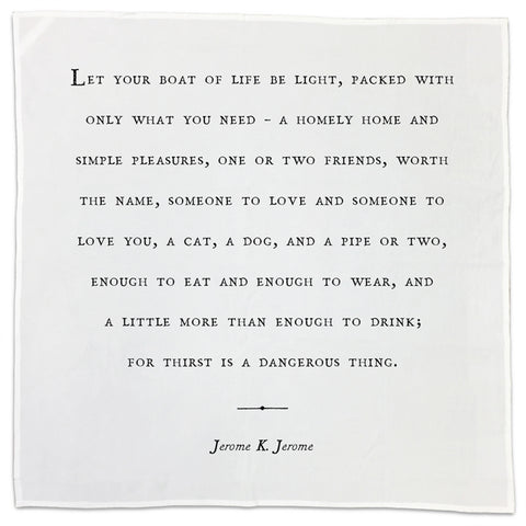 Jerome K Jerome Friendship Quote Tea Towel or Napkin