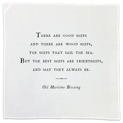 Maritime Blessing Friendship Quote Tea Towel or Napkin